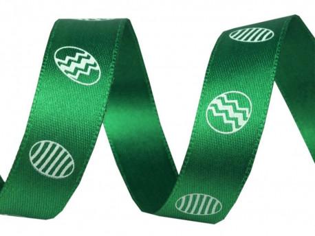 Tasiemka satynowa 15mm pisanki zielona