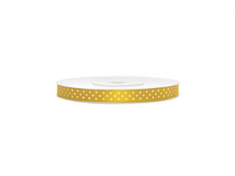 Wstążka satynowa żółta w białe kropki 6mm