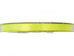 Wstążka satynowa jaskrawa żółta w białe kropki 6mm