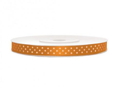 Wstążka satynowa pomarańczowa w białe kropki 6mm