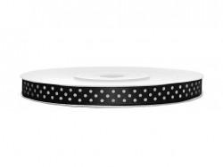 Wstążka satynowa czarna w białe kropki 6mm