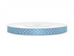 Wstążka satynowa błękitna w białe kropki 6mm