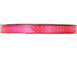 Wstążka satynowa jaskrawa różowa w białe kropki 6mm