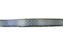 Wstążka satynowa szara w białe kropki 6mm