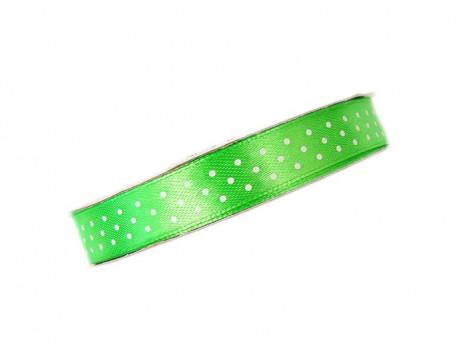 Wstążka satynowa jaskrawa zielona w białe kropki 12mm