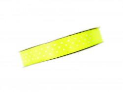 Wstążka satynowa jaskrawa żółta w białe kropki 12mm