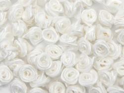 Atłasowe różyczki - 5szt. biały