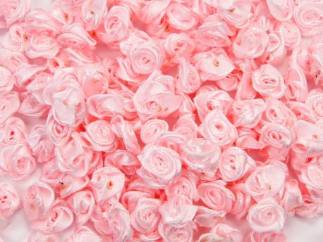 Atłasowe różyczki - 5szt. jasnoróżowy