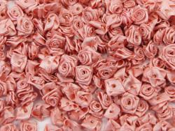 Atłasowe różyczki - 5szt. brudnoróżowy
