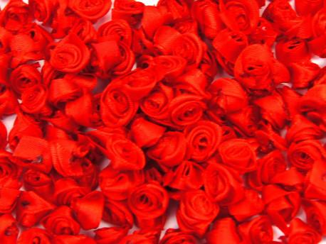 Atłasowe różyczki - 5szt. czerwony