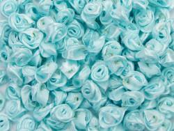 Atłasowe różyczki - 5szt. błękitny