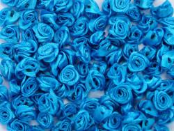 Atłasowe różyczki 5szt - turkusowe