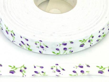 Tasiemka bawełniana 15mm kwiatki fioletowe