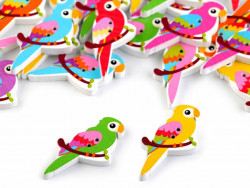 Guziki drewniane papugi