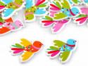 Guziki drewniane ptaszki kolorowe