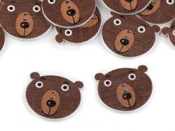 Guziki drewniane niedźwiadek