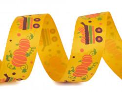 Tasiemka rypsowa 15mm dynie w wozie