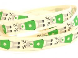 Tasiemka bawełniana 15mm renifery w zielonych sweterkach