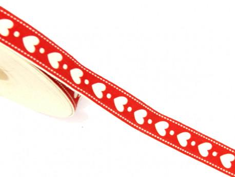 Tasiemka bawełniana serduszka 15mm