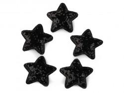 Aplikacje gwiazdki z brokatem czarne