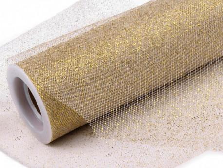 Tiul z brokatem złoty 15x25cm