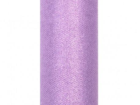 Tiul z brokatem fioletowy jasny 9m