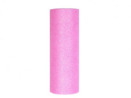 Tiul z brokatem różowy jasny 9m