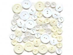 Guziki plastikowe - białe, ecru, kremowe