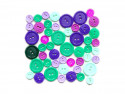 Guziki plastikowe - zielone, fioletowe