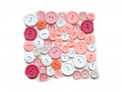 Guziki plastikowe - białe, różowe