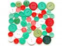 Guziki plastikowe - białe, czerwone, zielone