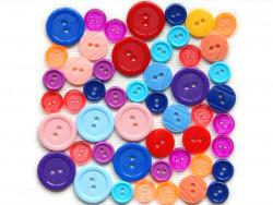 Guziki plastikowe - czerwone, niebieskie, fioletowe, różowe, żółte