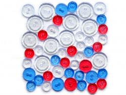 Guziki plastikowe - białe, niebieskie, czerwone