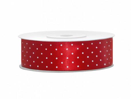 Wstążka satynowa czerwona 25mm w białe kropki