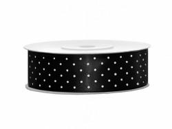 Wstążka satynowa czarna 25mm w białe kropki