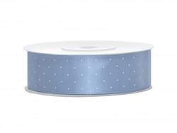 Wstążka satynowa błękitna 25mm w białe kropki