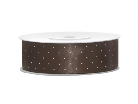 Wstążka satynowa brązowa 25mm w białe kropki