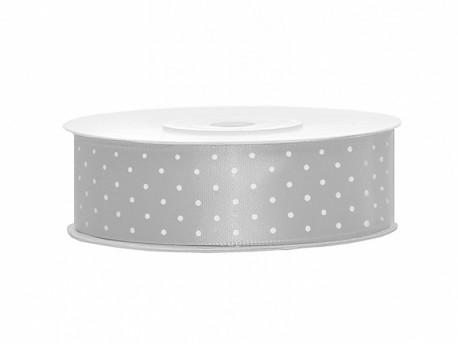 Wstążka satynowa srebrna 25mm w białe kropki