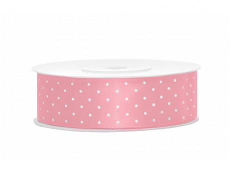 Wstążka satynowa różowa jasna 25mm w białe kropki