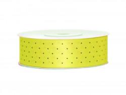 Wstążka satynowa żółta 25mm w czarne kropki