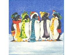 Serwetki Decoupage - Pingwiny w Szalikach