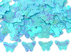 Cekiny motylki 22mm błękitne