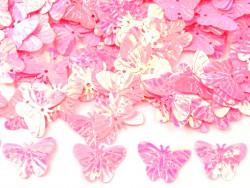 Cekiny motylki 22mm różowe zimne