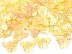 Cekiny motylki 22mm żółte