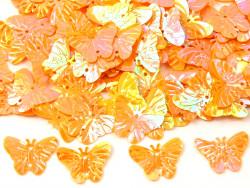 Cekiny motylki 22mm pomarańczowe