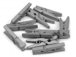 Drewniane klamerki mini, spinacze - 2szt, srebrne matowe