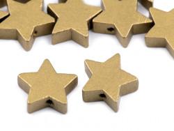 Koraliki drewniane gwiazdki złote