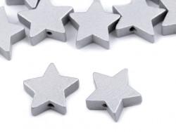 Koraliki drewniane gwiazdki srebrne