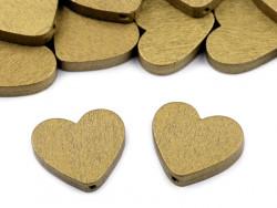 Koraliki drewniane serca złote