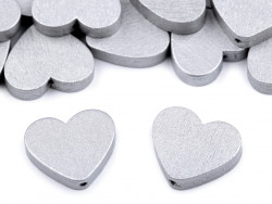 Koraliki drewniane serca srebrne